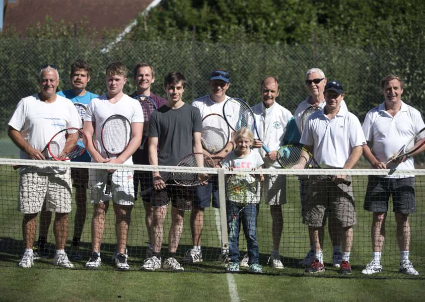 COMPETITIVE DAY: The entrants in this year's Newmarket URC Tennis Club's Men's Doubles event