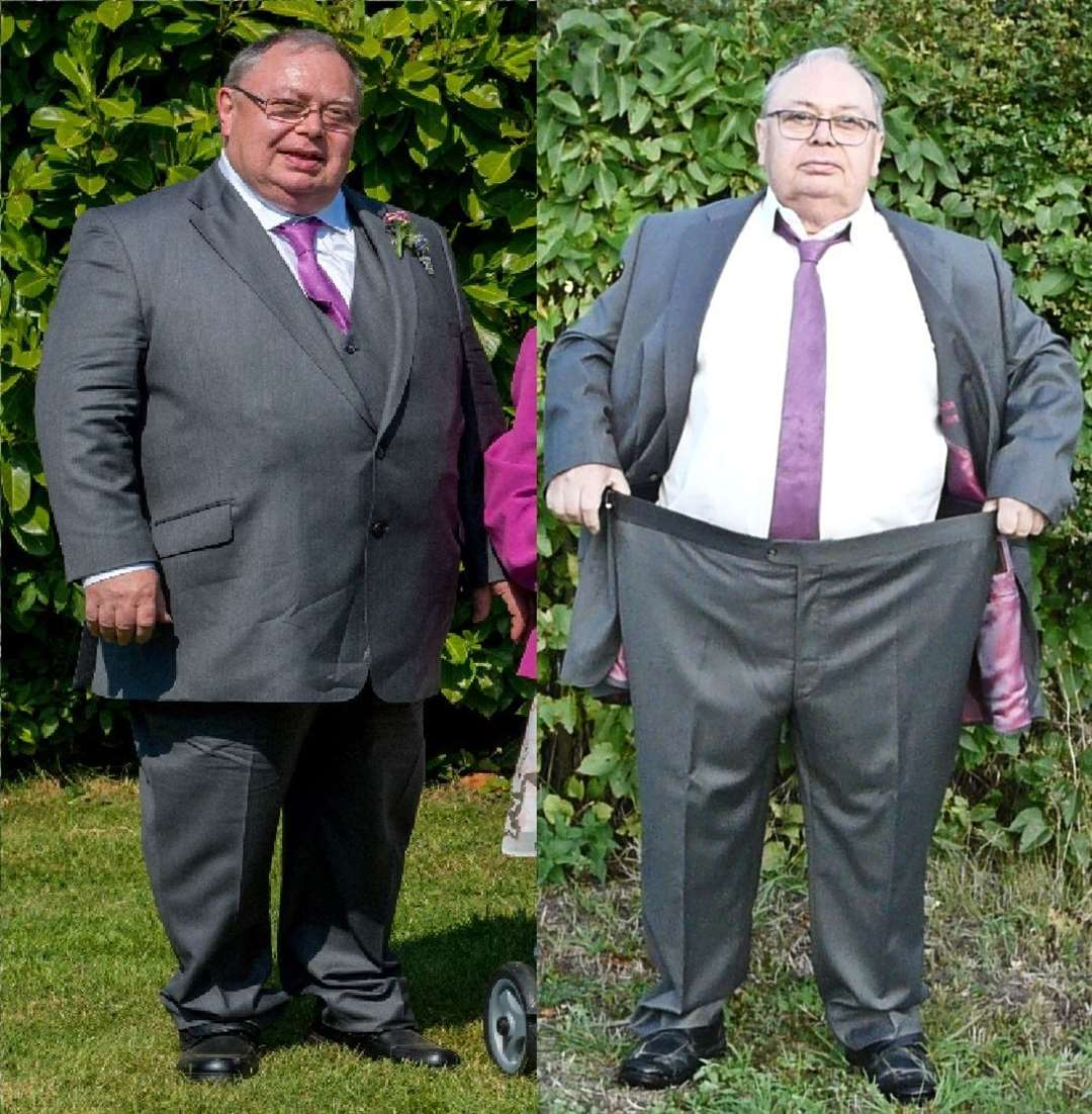 Alan Green pictured before and after his five-and-a-half stone weight loss.