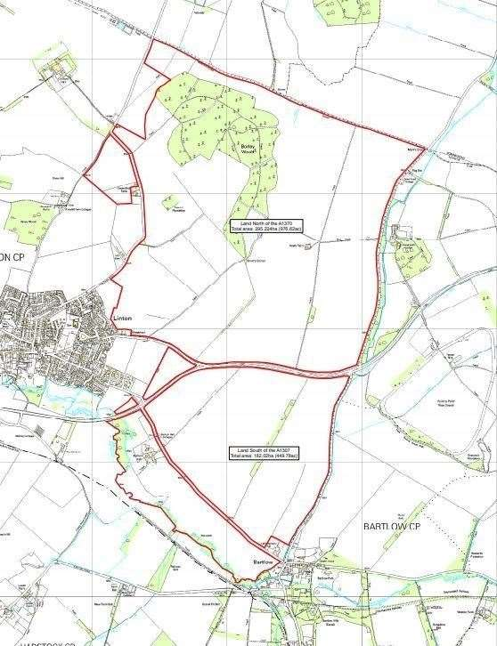 The land east of Linton where the proposed 7,000 new homes could be built