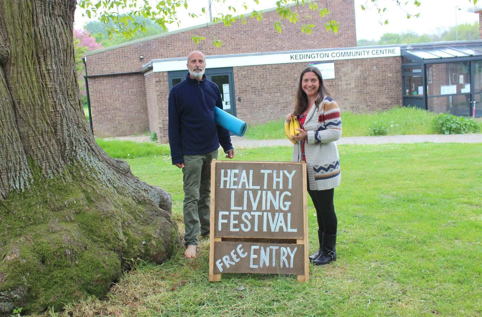 Healthy Living Festival organisers Giles and Juliette Bryant outside Kedington Community Centre. contributed picture (10910356)