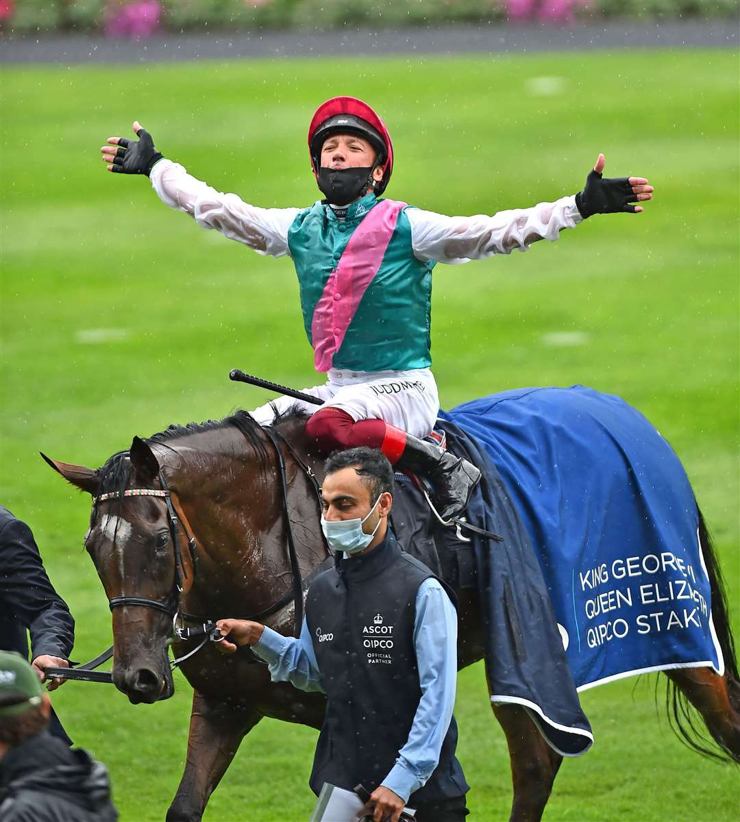 Frankie Dettori, celebrates after winning The King George Vl and Queen Elizabeth Qipco Stakes on Enable. Picture: Bill Selwyn