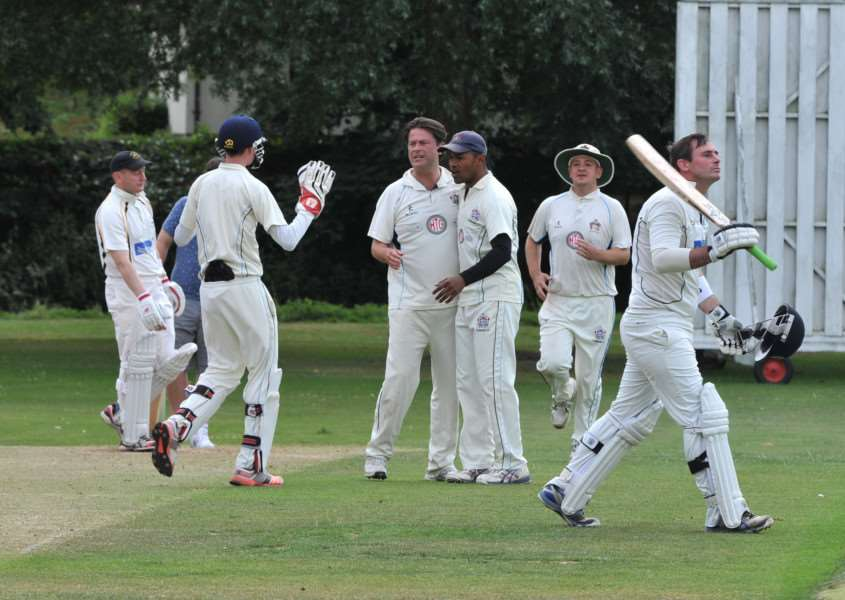 WINNING RUN: Hadleigh II celebrate a wicket during their nine wicket victory at Mildenhall III on Saturday. Marc Lloyd (80 no) helped Hadleigh to their third win in a row as they closed with a winning score of 151-1 at Wamil Way