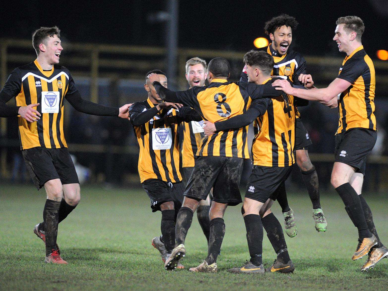 MEMORABLE VICTORY: Stowmarket Town's players celebrate Anton Clarke's goal, which made it 4-2 against league leaders Felixstowe & Walton United Picture: Mecha Morton