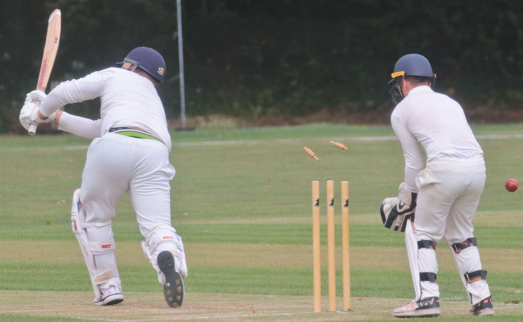 Haverhill's Sam Charlton is bowled for 27, more than double the score of any team-mate on the day	Picture: Gary Donnison