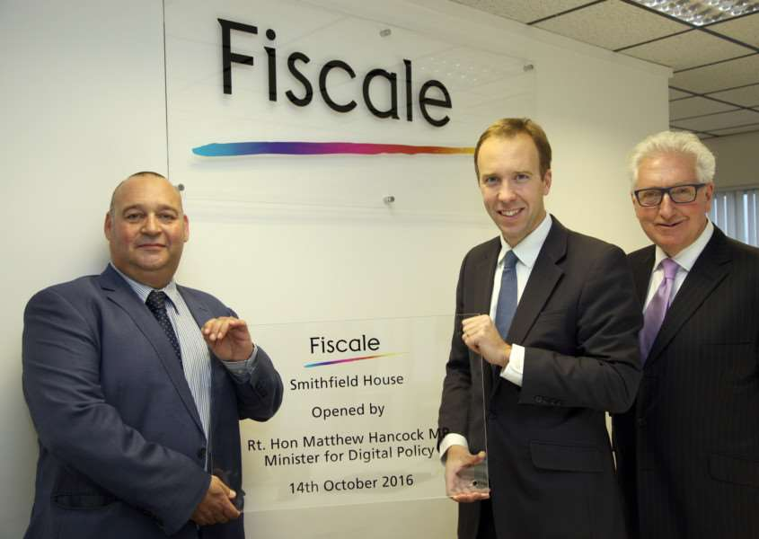Fiscale's technical director Stephen Bunting, Matthew Hancock MP and John Mayhew, executive chairman at Fiscale ANL-161020-123116001
