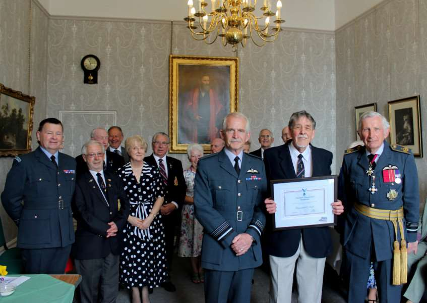 Sudbury RAFA chairman Ray Smith has been awarded a National RAFA Certificate. Ray (centre) with Air Marshal Sir Dusty Miller (left) and branch president Air Marshal Sir John Kemball (right) ANL-161105-103855001