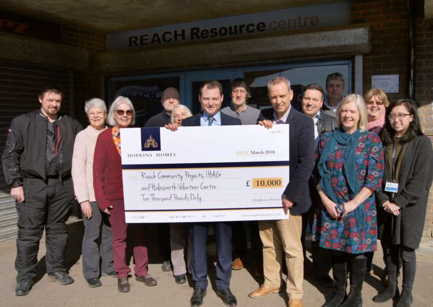 The team at Reach Community Projects with the cheque they received for �7,000 after winning the Hopkins Homes Suffolk Charity of the Year vote