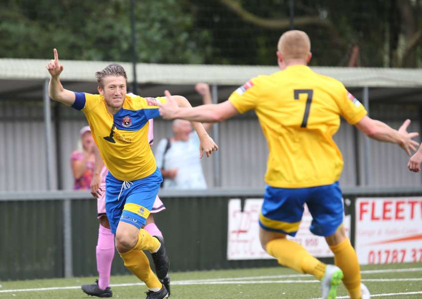 PERFECT START: AFC Sudbury's Sam Clarke celebrates his second-minute opener against Dulwich Hamlet on Saturday Picture: Richard Marsham