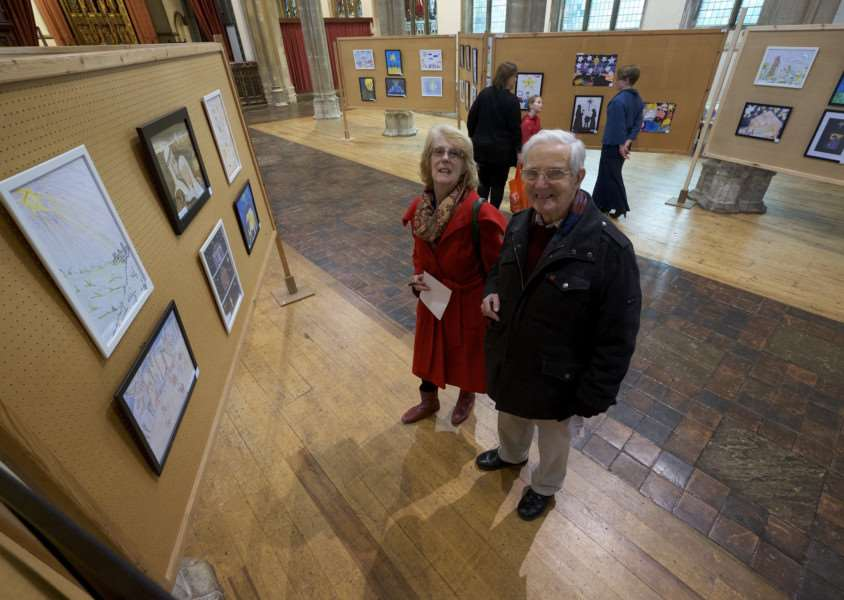 Sudbury, Suffolk. Sudbury Advent Art Trail held in the town in the run up to Christmas which exhibited them in various venues in Sudbury finally come together in St Peter's Church. Pictured are Robert and Elizabeth Bush. ''Picture: MARK BULLIMORE ANL-170701-222807009