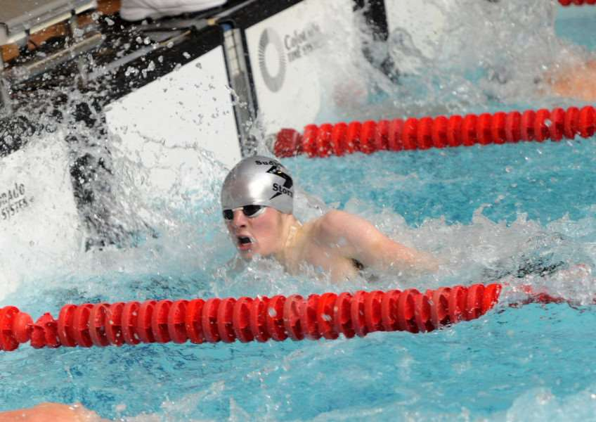 FINISH LINE: Sudbury's Orion Nichol competes in the 50m freestyle