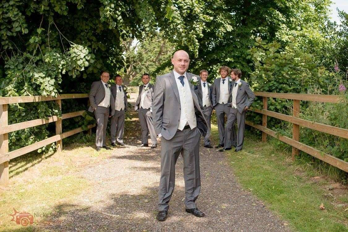 Craig Sawyer (front) pictured on his wedding day in 2016 with four of the Tour de Trigger cyclists to his right: (from left) Russell Claydon, Ollie Brown and Philip Mole. Also pictured is the ride's support team of Andy Tucker (far left) and his father Gary Picture: Nicks Pics Photography (15247479)
