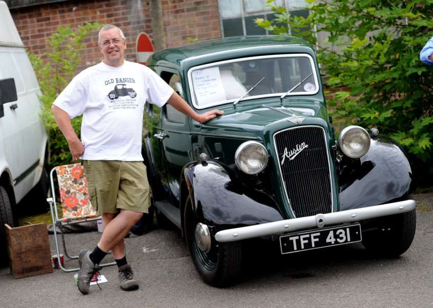 Long Melford Crank-Up''Pictured: Stuart Poole with his 1937 Austin 10 Cambridge which he had had for only 10 days''''PICTURE: Mecha Morton