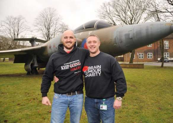 Darren White is taking on a 10.41km leopard crawl around the perimeter of RAF Honington to raise money for his friend Jordan Brown who has a terminal brain tumour