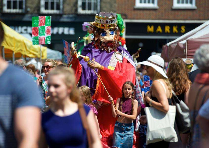 Last year's puppet parade saw students from St Benedicts School wend through the market with their giant creations. ''Picture: Mark Bullimore