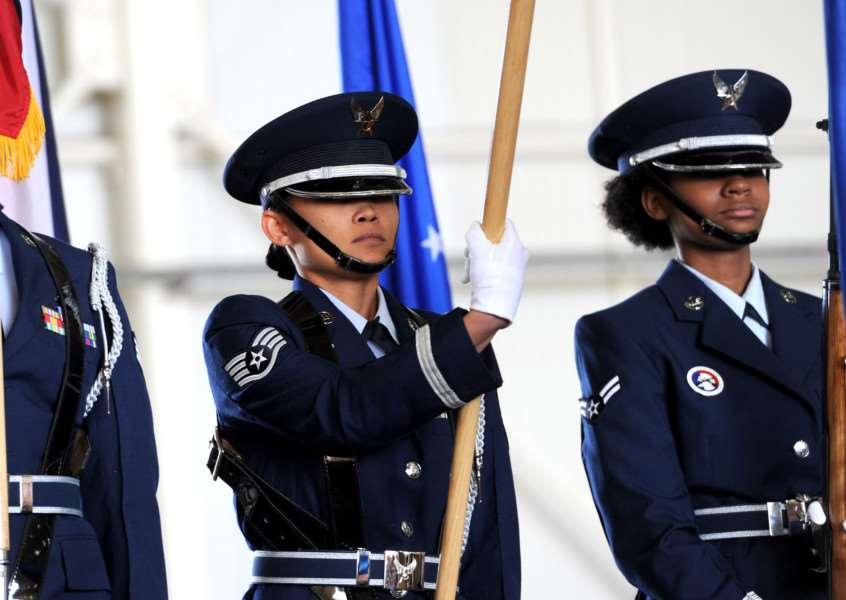 Part of the Honor Guard at the 35th Annual Joan Mann Special Sports Day at RAF Mildenhall ANL-160926-001755009