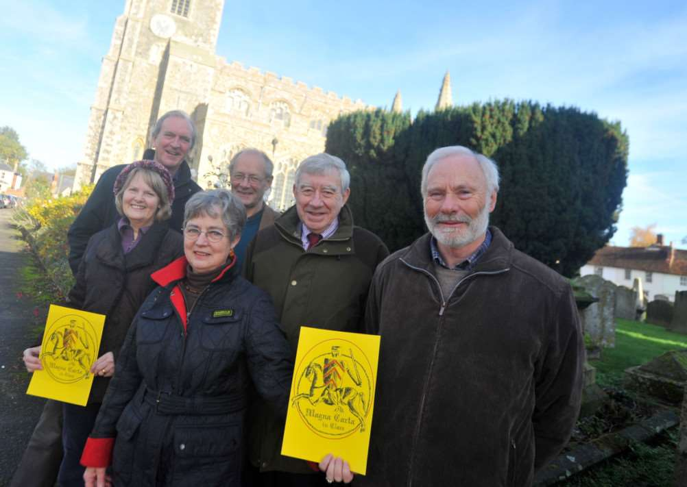 Peggy Smith (front) and others who are planning a Magna Carta celebration. Pictured in Clare High Street. ENGANL00120131113121358