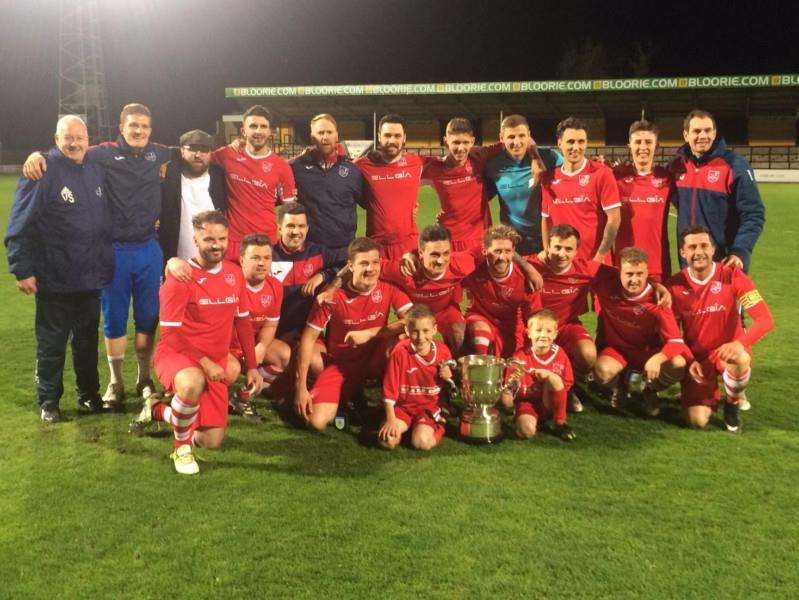 CUP WINNERS: Ely celebrate their win at the Abbey
