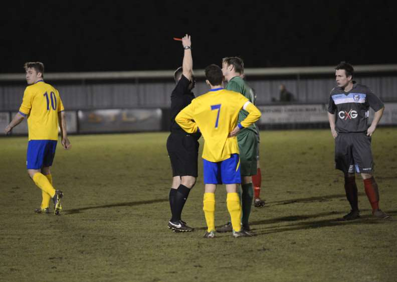 Johnny Kerridge (10) walks away after being sent off AFC Sudbury Picture by Mark Westley.