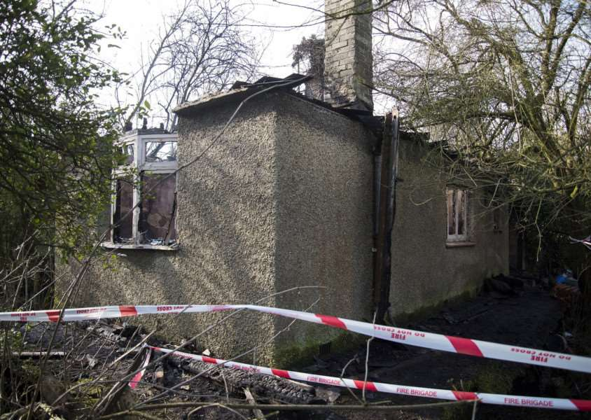 The fire damaged bungalow in Decoy Road, Sedge Fen, where a man was found dead.''Picture Mark Westley