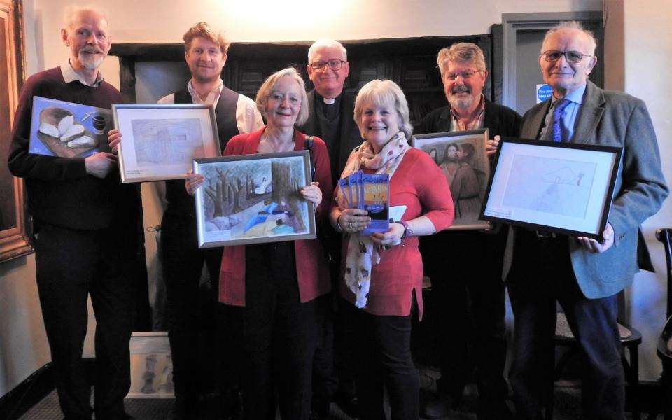 Launch of Lavenham Easter art trail. 'Pictured from left; David Hilditch, Jonathan Boast, the Rev Stephen Earl, Carroll Reeve, David Deacon. Front l to r: Cllr Jenny Antill, Lynda Sebbage.