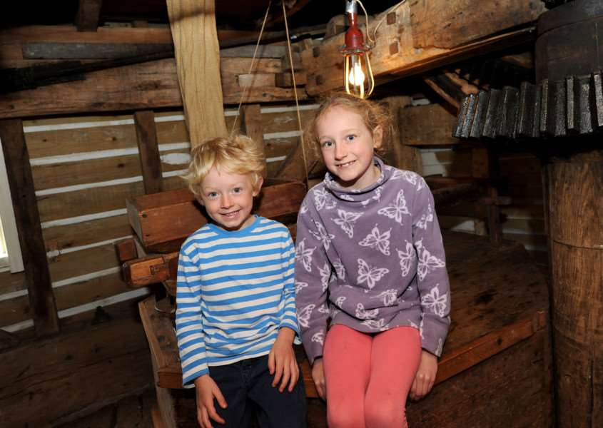 Amy (8) and Toby (5) Michel enjoying their visit to Stanton mill ANL-160516-075120009