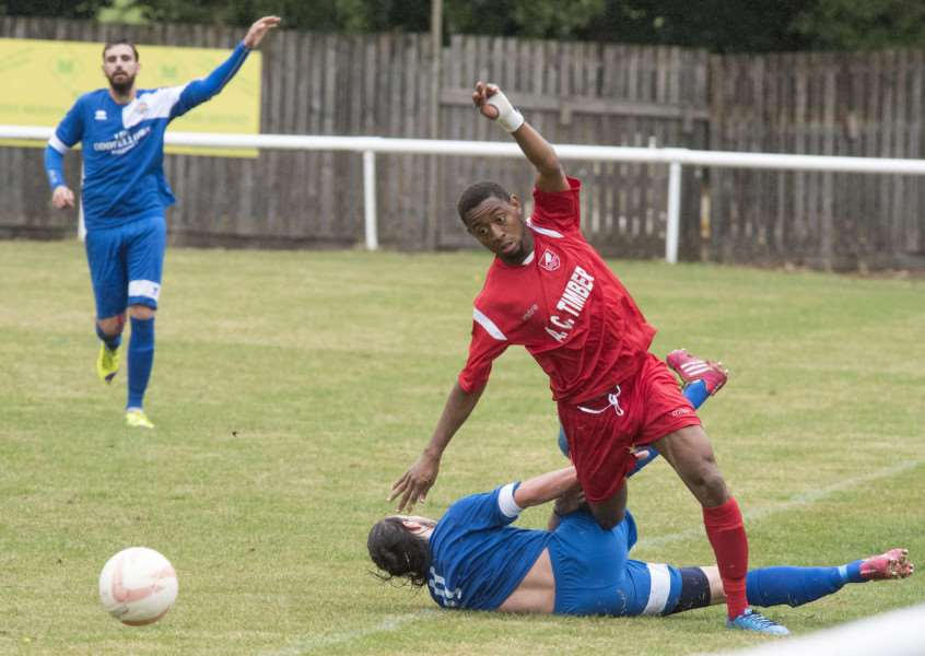 DANGER MAN: Kelvin Enaro (pictured in action earlier this season) has received special praise from his manager Brady Stone following Ely City's against-the-odds victory in The Buildbase FA Vase