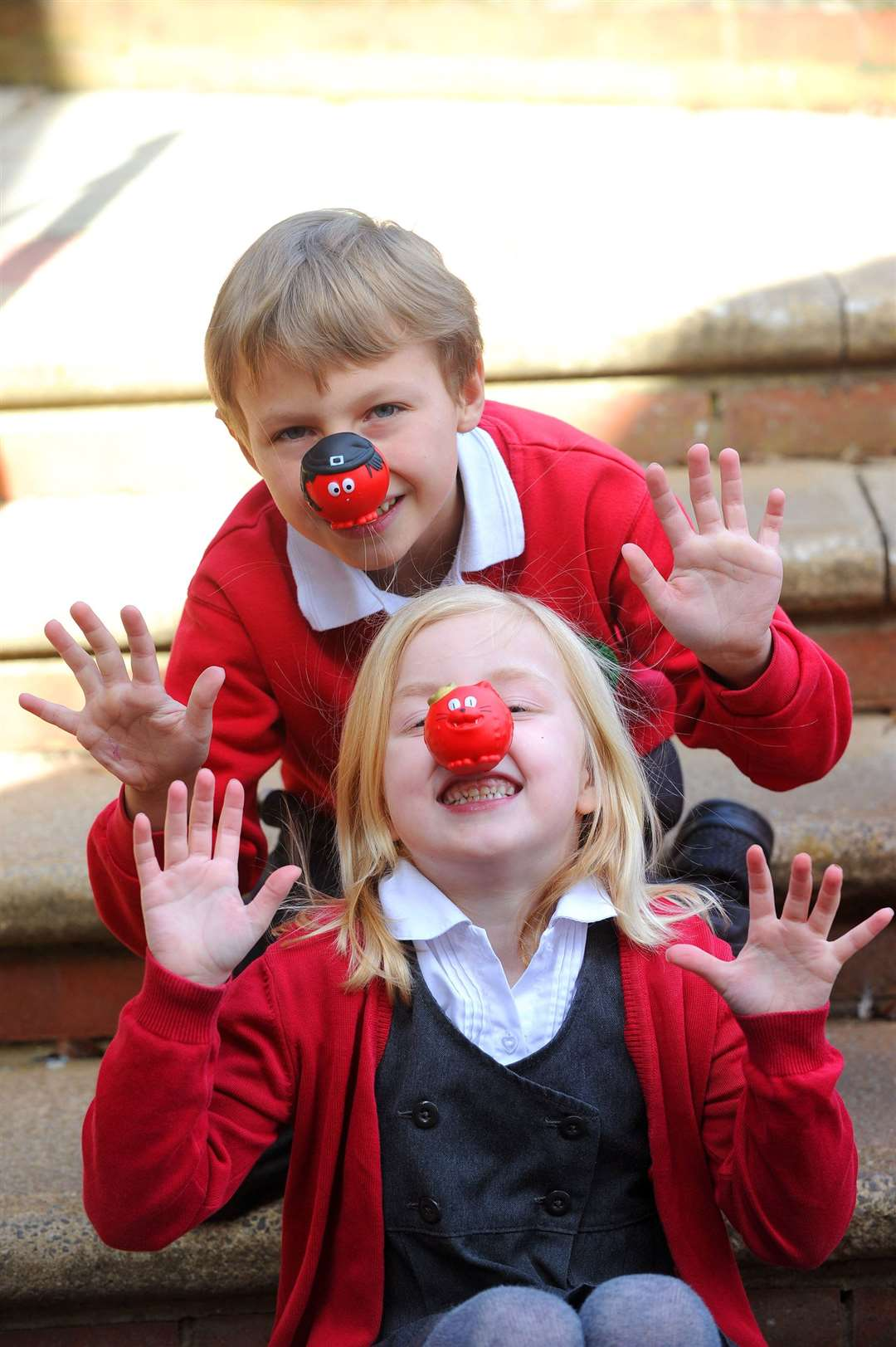 Rattlesden Primary School are telling jokes for Red Nose Day. Florence Homes and Joe Coomber. PICTURE: Mecha Morton.