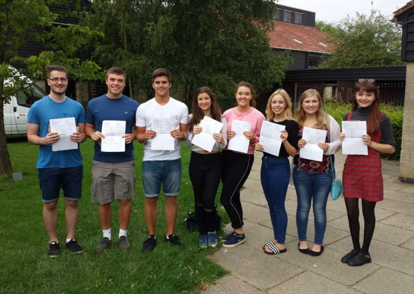 Students form Stowupland High School celebrate their A Level success ANL-150813-131308001