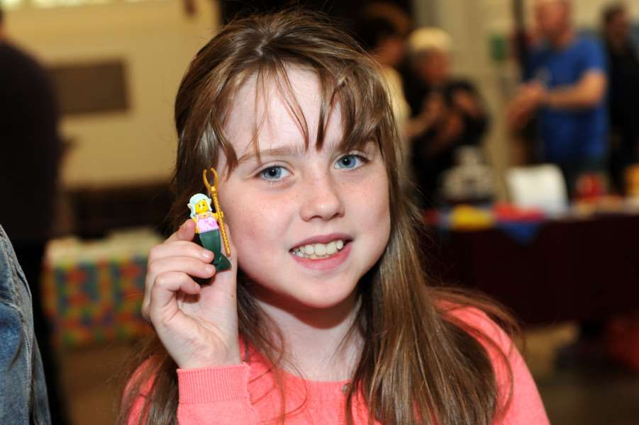 Lego launch at Bury cathedral ''Pictured: Emily Crerar (8) making lego self ANL-160530-192833009