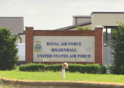 Entrance to RAF Mildenhall, which the Pentagon has announced will close as part of European reorganisations. ENGANL00120130608144929