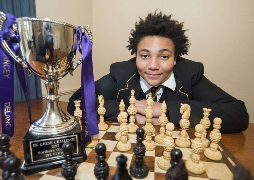 Jaden Jermy with his UK Schools Chess Challenge trophy Picture Mark Westley