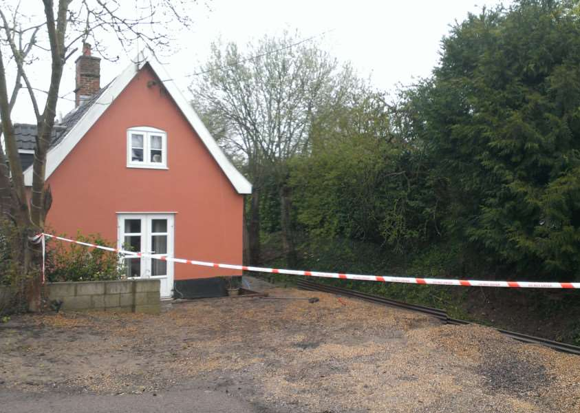 Cottage in Little Whelnetham damaged by flood water