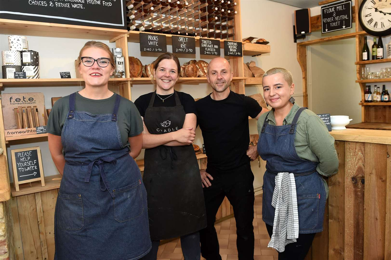 Cradle cafe in North Street, Sudbury provides plant-based dishes and pastries. The business prides itself on producing food from plant-based products, which are ethically sourced and boosts biodiversity...Pictured: Bethany Buck, Holly Sutton, Christophe Vigil and Gabriella Vasquez-Walters...PICTURE: Mecha Morton ... (15399496)