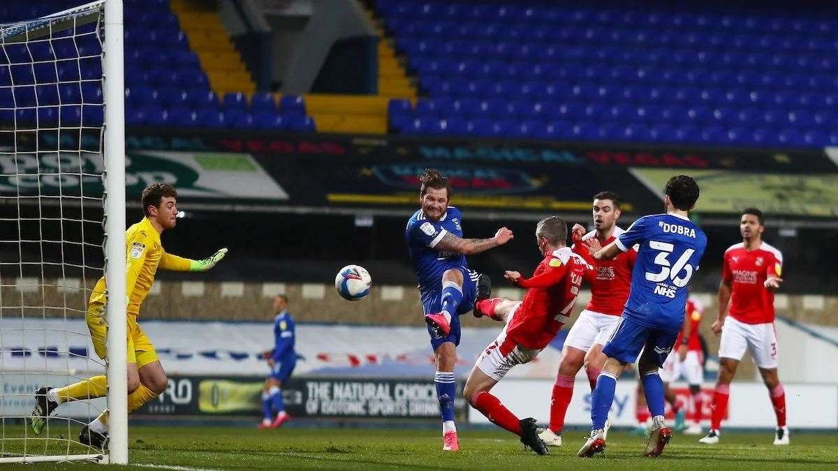 Substitute James Norwood marked his return from a hamstring injury with a goal in Ipswich Town's 3-2 home defeat to SwindonPicture: ITFC (43897392)