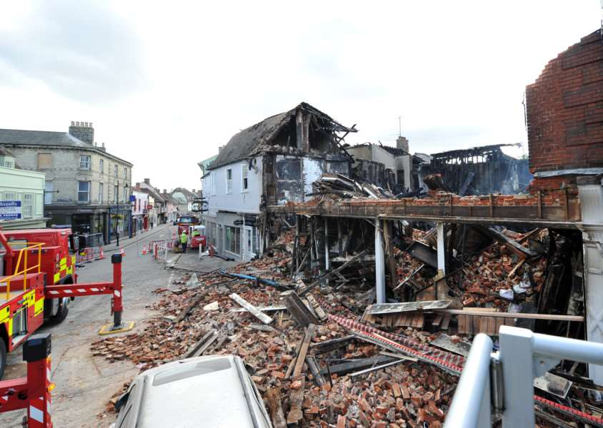 What was left of the Oxfam shop in Maket Hill, Sudbury after the devastating fire