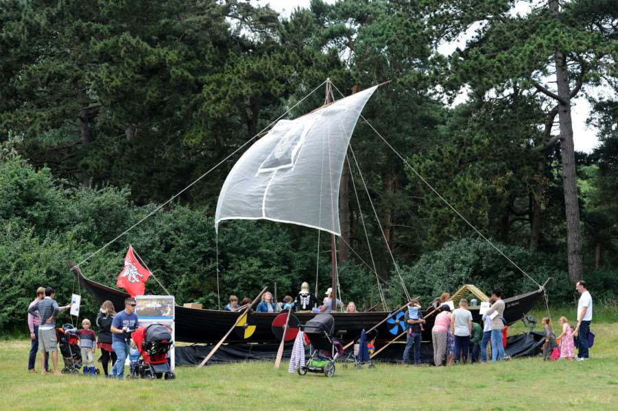 West Stow Dragon Festival 2016''Pictured: Replica Anglo-Saxon boat ANL-160626-201041009