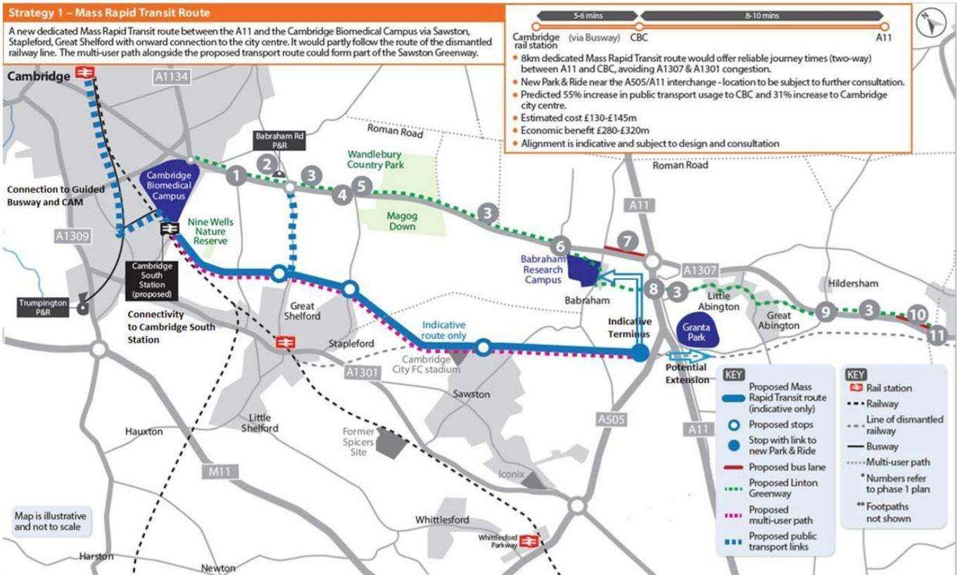 The A1307 Mass Transit Route that has been adopted by the Greater Cambridge Partnership's executive board