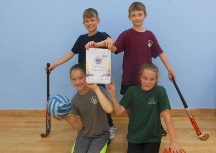 Westfield Primary Academy pupils Jacob Benians (back left), Oliwier Marcinek (back right), Julija Petrova (front left) and Eve Green (front right).