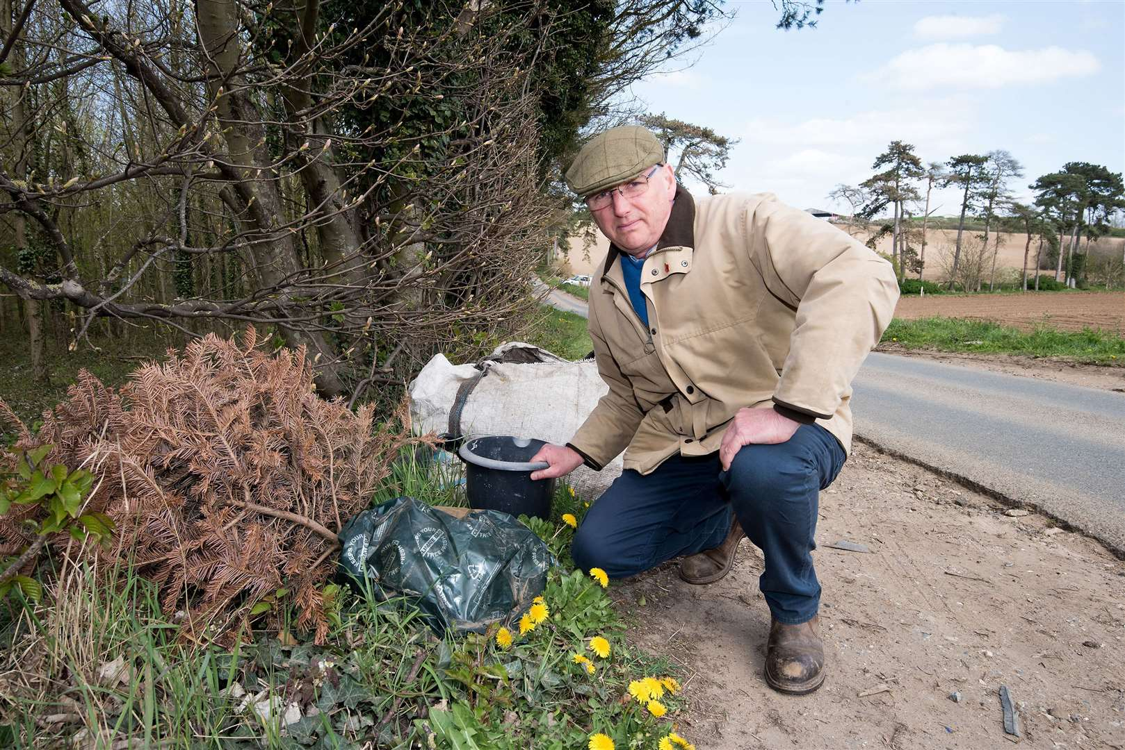 George Gittus with gardening waste dumped this week. Picture by Mark Westley