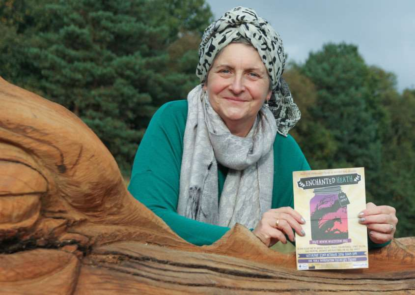 Storyteller Lynn Whitehead with the heathland dragon