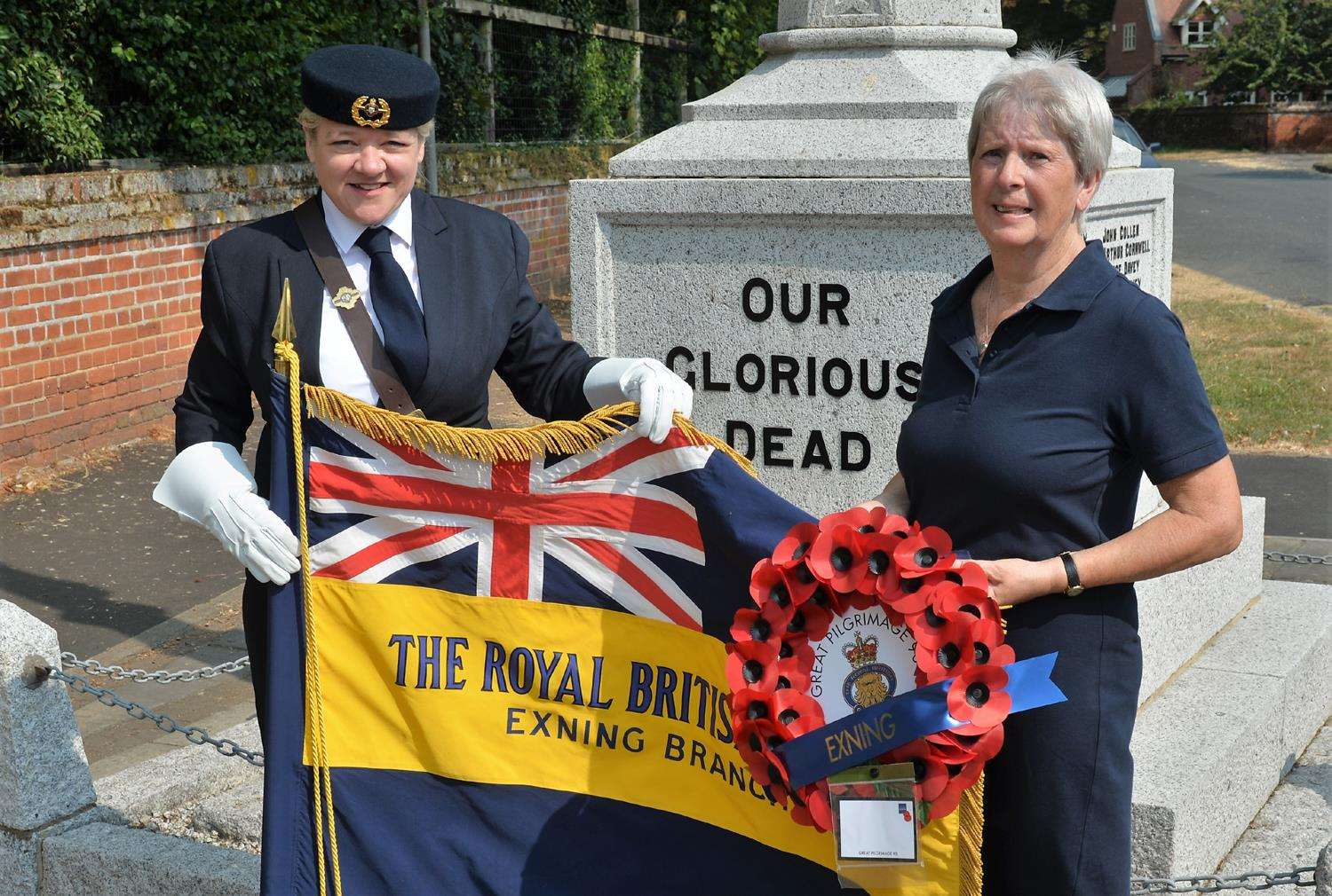 Standard Bearer left is Ally Prewett-Stansfield with Wreath Bearer Denise Rogerson Exning British Legion (3347030)