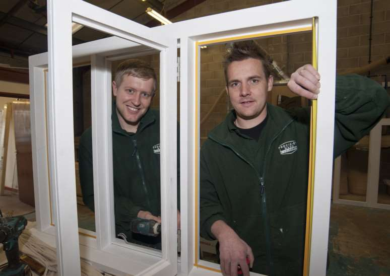 Mark Westley Photography'SUDBURY: New joinery business'Precision Made Joinery Ltd, Woodhall Business Park, Sudbury, Suffolk'Craig Green right and Scott Grimwood, from Glemsford, have set up their own joinery business in Sudbury. ANL-150324-201500009