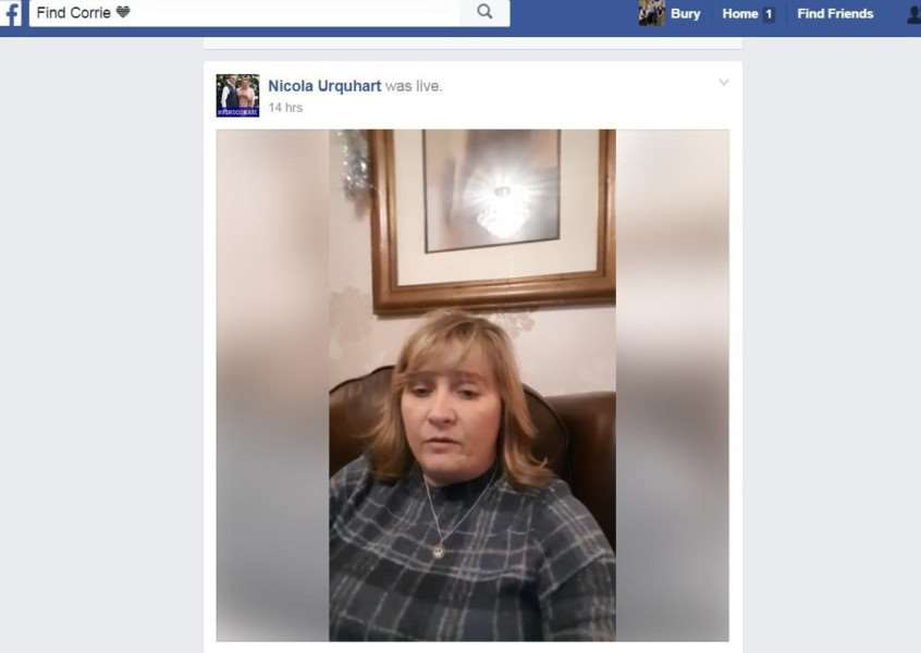 Corrie McKeague's mum Nicola Urquhart answering questions on Facebook Live last night ANL-161229-114431001