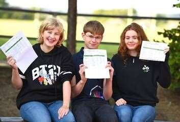 Emily Martin, Lucas Measures and Nicole Forman celebrate their top GCSE grades at Ixworth Free School. (Credit: Gregg Brown, Copyright: Seckford Education Trust)