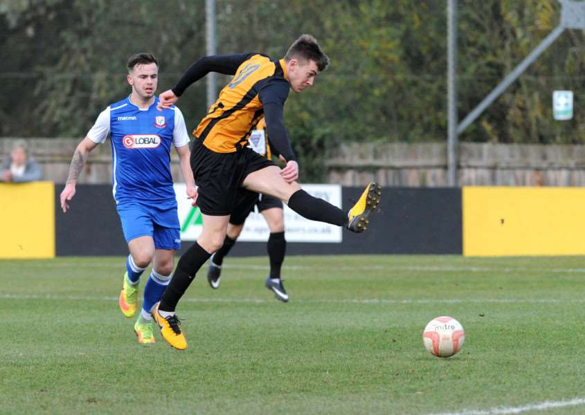 TARGET MAN: Josh Mayhew hopes to score enough goals to help Stow catch runaway league leaders Felixstowe