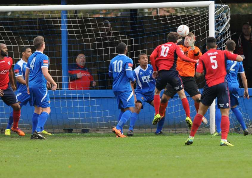 FOOTBALL - Bury Town v Hampton and Richmond Borough''Pictured: Alex Archer saves ANL-140811-194948009