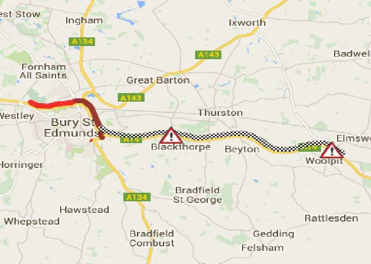 The AA traffic map showing the extent of the closure and queues this evening