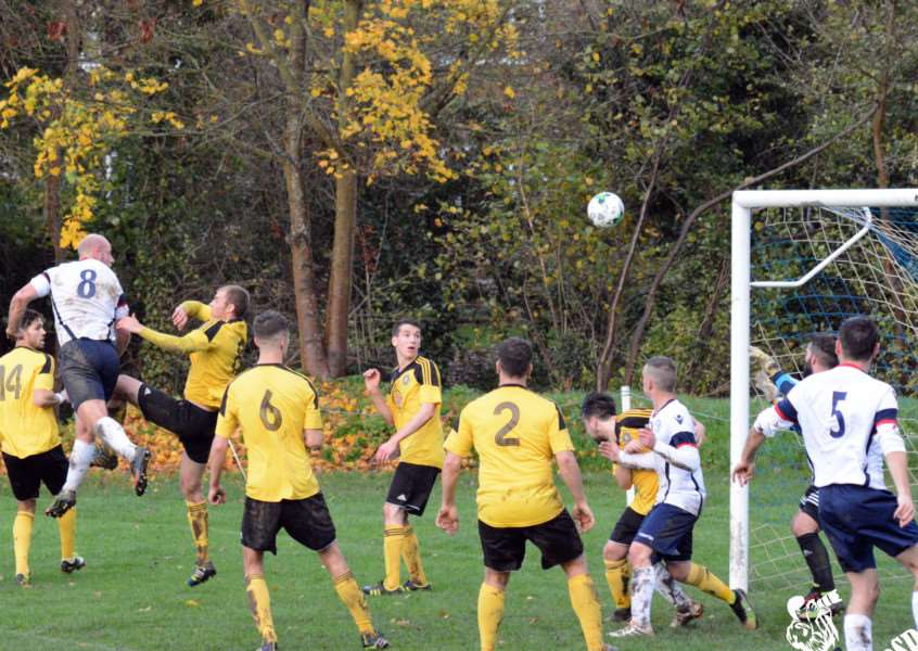 Dale Archer powers home a header during Linton Granta's 7-0 win over Hardwick in the 2015-16 Kershaw Premier League season. Picture by Sideline Photography ANL-151011-163833002
