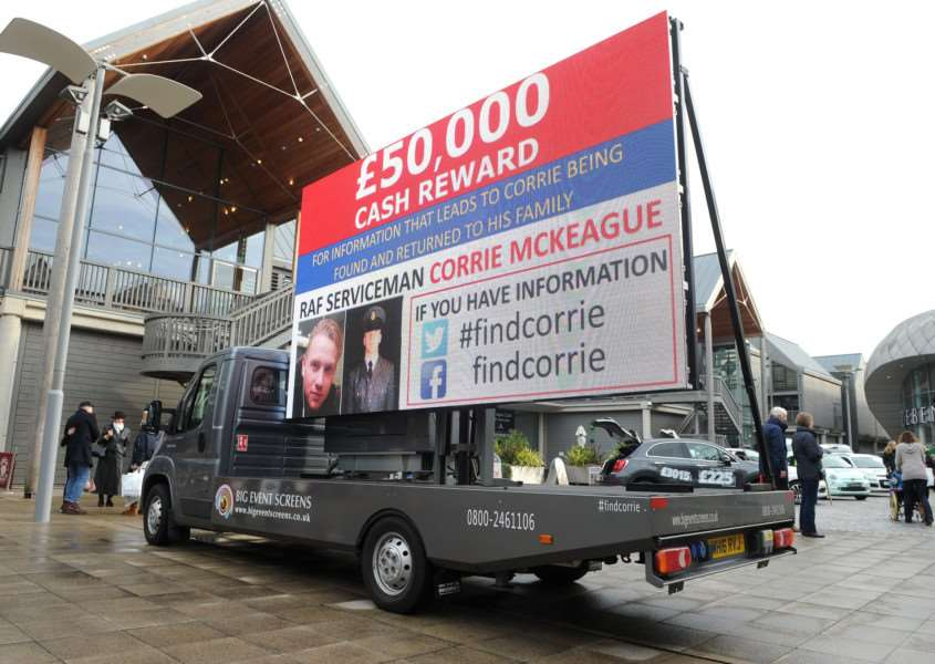 Big Screen Events' sign in the Arc giving details of missing airman Corrie McKeague