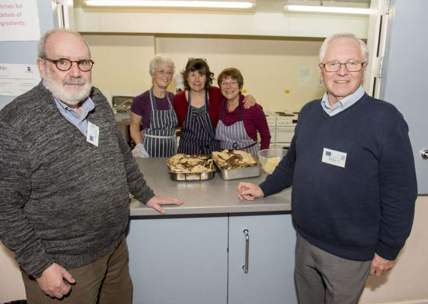 Bury Drop In, Trinity Methodist Church, Brentgovel St Bury St Edmunds'Volunteer kitchen staff Sheila Mitchell, Lesley Horne and Antha Marshall'with David Bennett CEO and Mike Coleman Chairman 'Picture Mark Westley